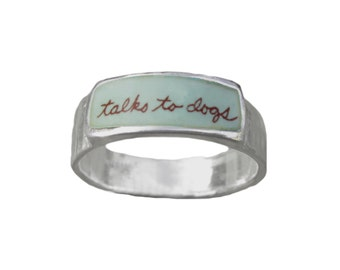 Talks to Dogs Band Ring - Sterling Silver and Vitreous Enamel Dog Ring - Ring for Dog Lovers