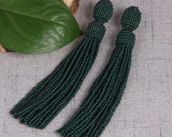 Green beaded tassel earrings,Beaded earrings in Oscar de La Renta style, long tassel beaded earrings, oscar de la renta tassel earrings