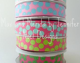 US Designer Ribbon - Silly Dots Ribbon - Polka Dot Ribbon - Colored Dot Ribbon, PDRS Ribbon - Bow Making Supplies - Filler Ribbon