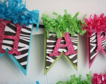 Zebra Birthday Banner - Birthday Decoration - Birthday Garland - Birthday Photo Prop - Bright Colors