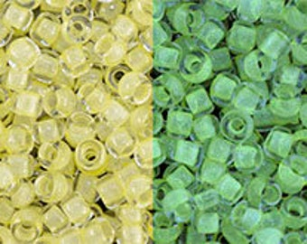 TOHO Japanese Seed Beads - Round 11/0 : 2721 Glow In The Dark - Yellow/Bright Green - choose your gram weight