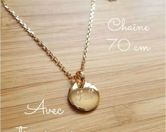 Necklace chain 70 cm round 10 mm engraved personalized medal gold plated