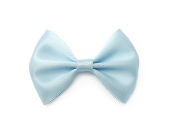 Baby Blue Hairbow, 3 Inch Satin Bow, Basic Hairbow, Satin Tuxedo Bow, Girls Hair Bow, Powder Blue, Ice Blue