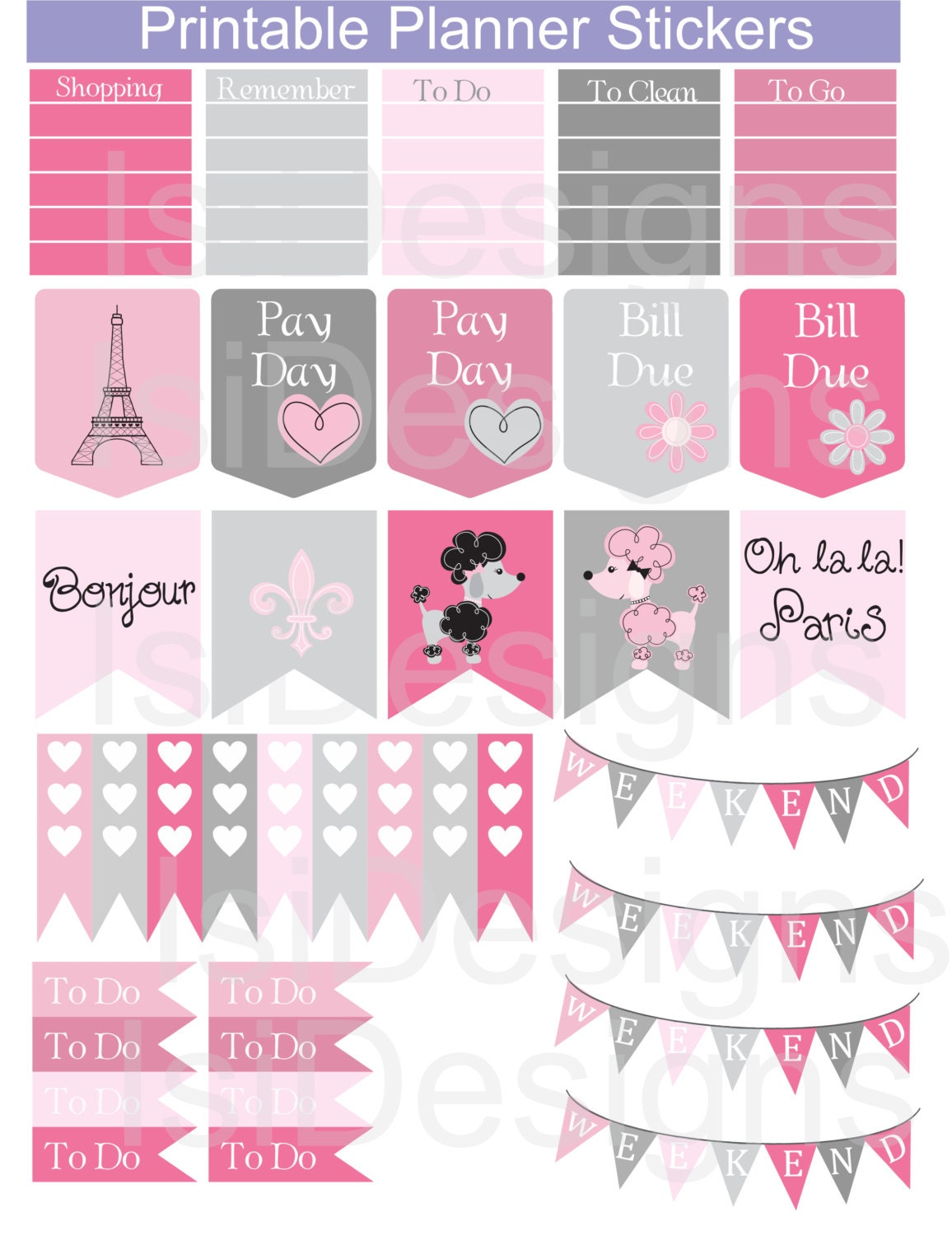 Pink And Grey Printable Planner Stickers Paris Theme