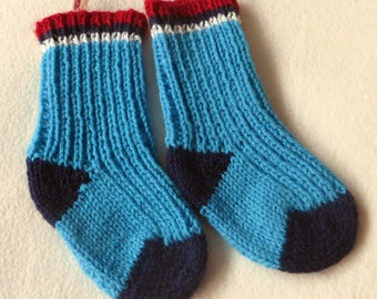 Hand Knitted Child's Wellie Boot Socks, gum boots, ribbed sock, children, accessory,foot, feet,footwear, blue,navy,fun puddle splash