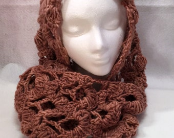 Infinity Scarf, Mobius Scarf, Scarf, Cowl, Scarf, Wrap, Wine, Circle Scarf, Mauve, Crochet Scarf, Dusty Rose, Lace,
