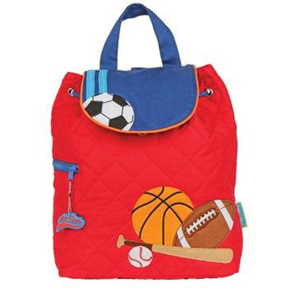 Toddler Quilted Sports Backpack, Soccer, Monogram, Kids Backpack, Stephen Joseph Children's Backpack, Preschool Backpack