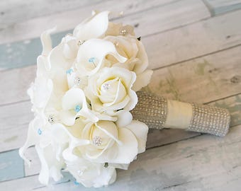 Real Touch Brooch Wedding Bouquet - Silk Wedding Bouquet with Roses and Calla Lilies - Crystals & Bling