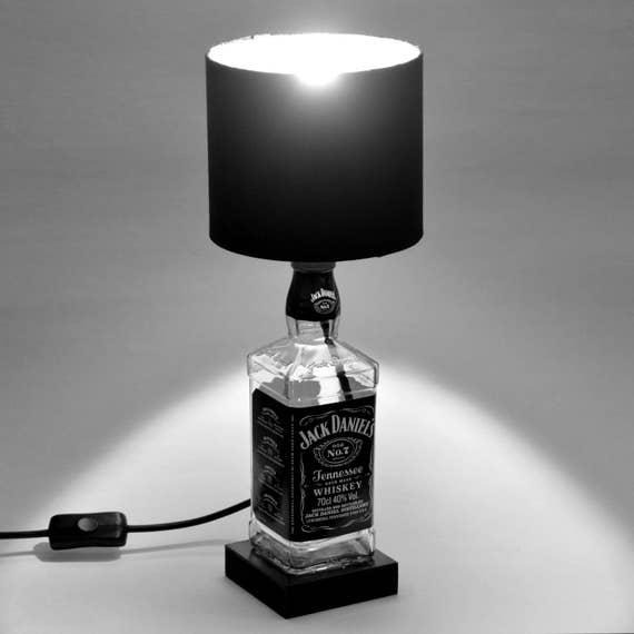 Fathers day gift jack daniels bottle lamp upcycled