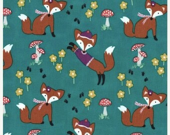 Summer Clearance Lil Foxy Fabric in Teal by Michael Miller Fabrics 1 Yard