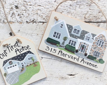 New Home Ornament, House Christmas Ornament, Personalized Housewarming Gift, Hand Painted Wood, Realtor Closing Gift, Custom House Portrait