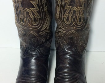 LUCCHESE Brown Leather Cowboy Western Boots Men's Size 10 D