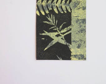 Small original hand printed botanical mini print ACEO Presented on a blank greetings card Nature art gift by Stef Mitchell FREE SHIPPING