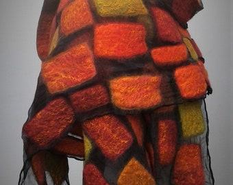 Rich red and green nuno felt scarf on pure silk chiffon.