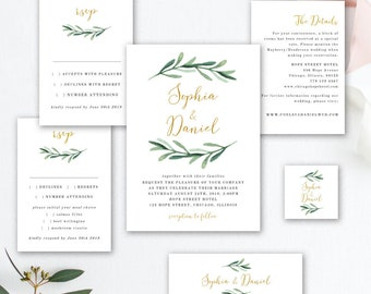 Greenery Wedding Invitation Printable Template, Rustic Wedding Invitation Suite, Watercolor Wedding Invitation, EDIT in TEMPLETT, Sophia