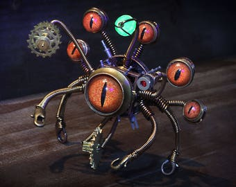 Steampunk Beholder Robot, Dungeons and dragons, dnd miniature, monster figurine, fantasy sculpture