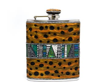 Flask stainless steel 6oz polymer clay overlay with faux burl wood sterling silver beads black and white mosaic inlay one of a kind unique