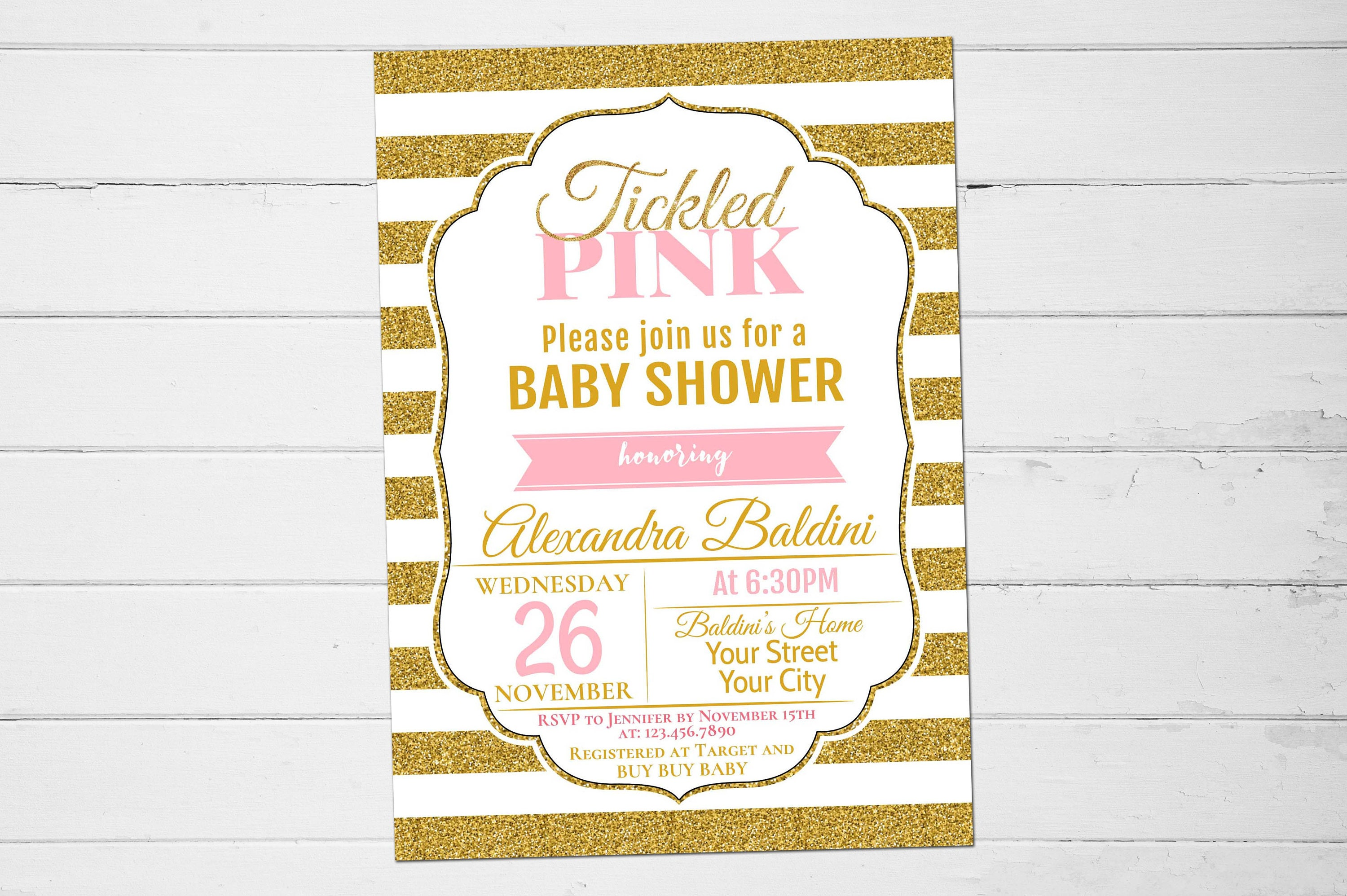Baby Shower Invitation Girl Tickled Pink Baby Shower Baby