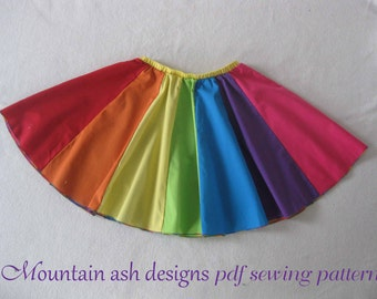Rainbow Skirt pattern pdf sewing pattern poodle character rainbow sailor panel twirl skirt sizes 1-14
