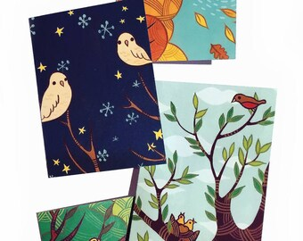 Bird GREETING CARDS set of blank note cards, bird notecards, blank cards, blank notecards, grandmother gift, bird cards, all occasion cards