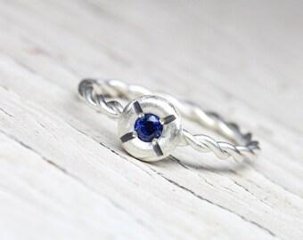 Nautical Navy Blue Sapphire Promise Ring Silver Twisted Rope Lifebuoy Romantic Boho Beach Summer September Birthstone Symbolic - Lifesaver