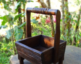 Beautiful Hand Carved Reclaimed Wooden Caddy, Wooden Caddy, Rustic Caddy, Caddy, Teak Caddy, Wooden Box, Wooden Container, Condiment Caddy