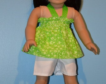 American Made Cool Lime Mock Smock Top fits 18 Inch Girl Dolls-White Shorts and Cute White Ballet Flats Option-Summertime Fun Doll Clothes!