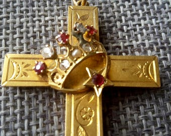This is a beautiful antique victorian very rare 15ct gold and seed pearl and paste stone cross