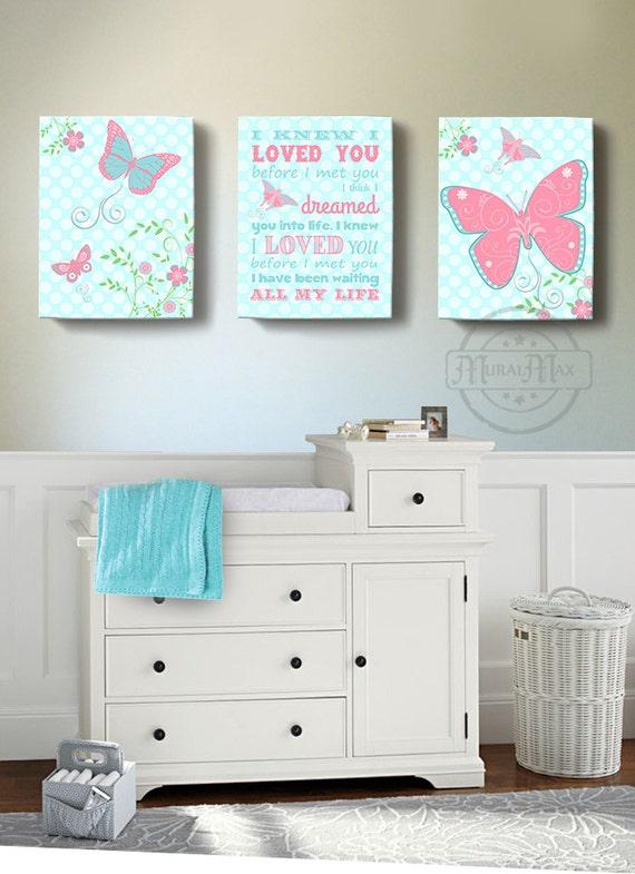 Baby Girl Room Decor Butterfly Canvas Wall Art Girl Nursery