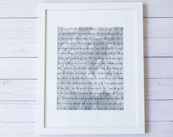 Framed Song Lyrics, Framed Wedding Vows Wedding Gift, Music Memorabilia, Custom Word Art, Wedding Photo Gift. Valentines Day Gift