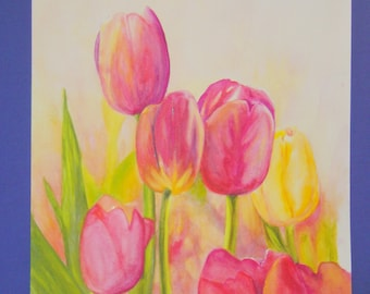 """Unframed Original Watercolor Painting of 6 Tulips (18.5"""" x 14"""")"""