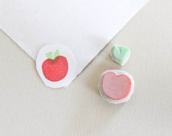Apple Rubber Stamp. Peach Stamp. Fruit Stamp. Food Stamps. Handmade Rubber Stamp.
