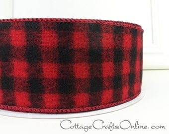 "Christmas Wired Ribbon, 2 1/2"" wide, Red and Black Buffalo Plaid Flannel - THIRTY THREE YARD Roll - Lumberjack Check Wire Edged Ribbon"