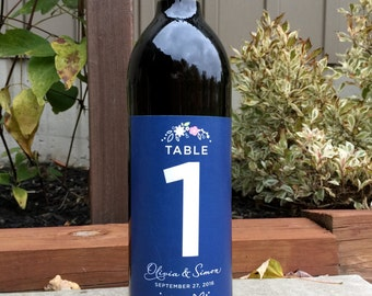 Folk Flower Style Table Numbers for Wine Bottles - Wedding Wine Labels - Country Style Table Numbers