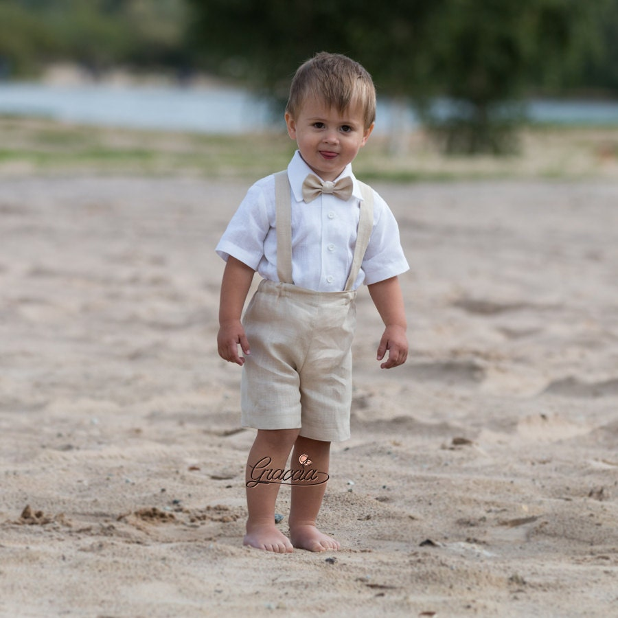 Ring Bearer Outfit Baby Boy Baptism Clothes Linen Suit