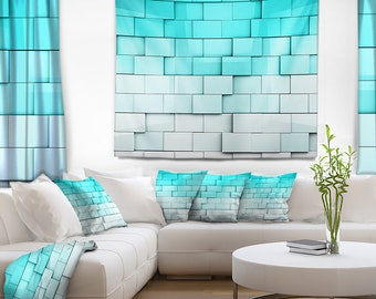 Designart Blue Mosaic Cubes Contemporary Wall Tapestry, Wall Art Fit for Wall Hanging, Dorm, Home Decor