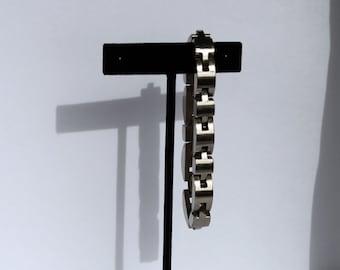 Vintage Sterling Silver Link Bracelet, Big Silver Bracelet