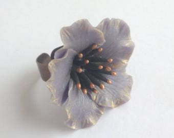 Purple cactus - cold porcelain flower ring