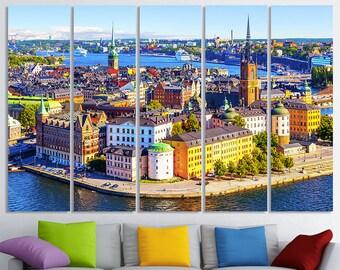 Stockholm art print stockholm skyline sweden retro travel for Mundial decor international nv