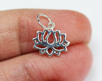 4pcs 925 Sterling Silver Jewellery findings Lotus Charm Beads , 12*11mm Lotus Flower,6mm Closed jump ring - FDSSB0447