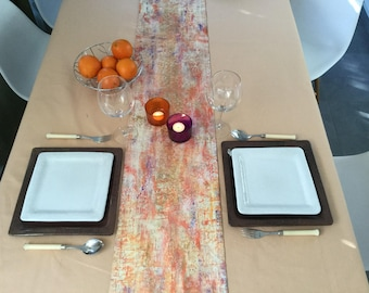 Hand painted gold and moiré fabric table runner