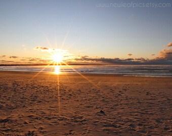 Sunrise Photograph Coastal Home Decor, Beach Wall Art, Rhode Island Print of Sachuest Bay, Seascape Photo Beach House Decor, Ocean Landscape