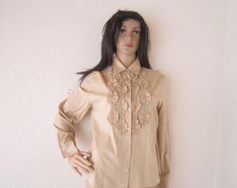 Vintage 80s jabot blouse ruffle blouse Tru city S / m