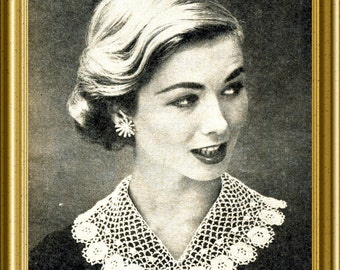 Vintage Irish Crochet Lace Collar PDF pattern 1959