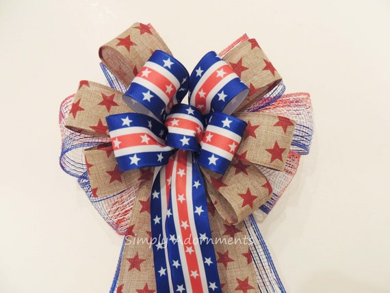 Patriotic Wreath Bow July 4th Wreath Bow, Red white and blue bow, 4th of July door decor,  Memorial Day Decoration Independence Day Decor.