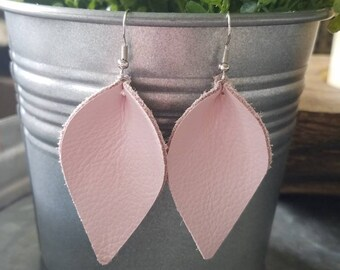 Blush Pink Teardrops or Leaf Leather Earrings