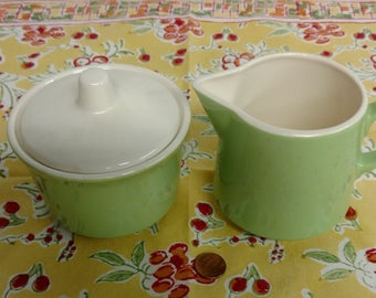 Green and White Royal USA Mid Century Modern Cream and Covered Sugar