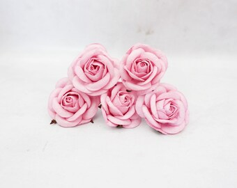 5 50mm/2 inches pink mulberry roses - paper flowers