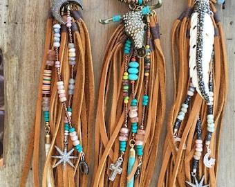 Leather Fringe Tassel Necklace, Black Crystal, Turquoise, Festival Jewelry