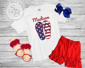Flag Flip Flop Shirt // 4th of July girls Shirt // Patriotic Kids Shirt // Red White and Blue shirts // USA shirt